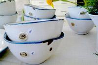 chipped enamel soup bowls